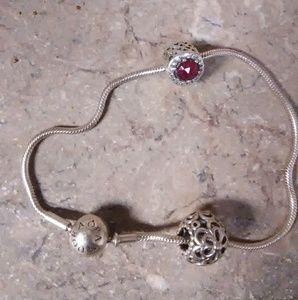 Sterling Silver Pandora Bracelet w/ 2 charms